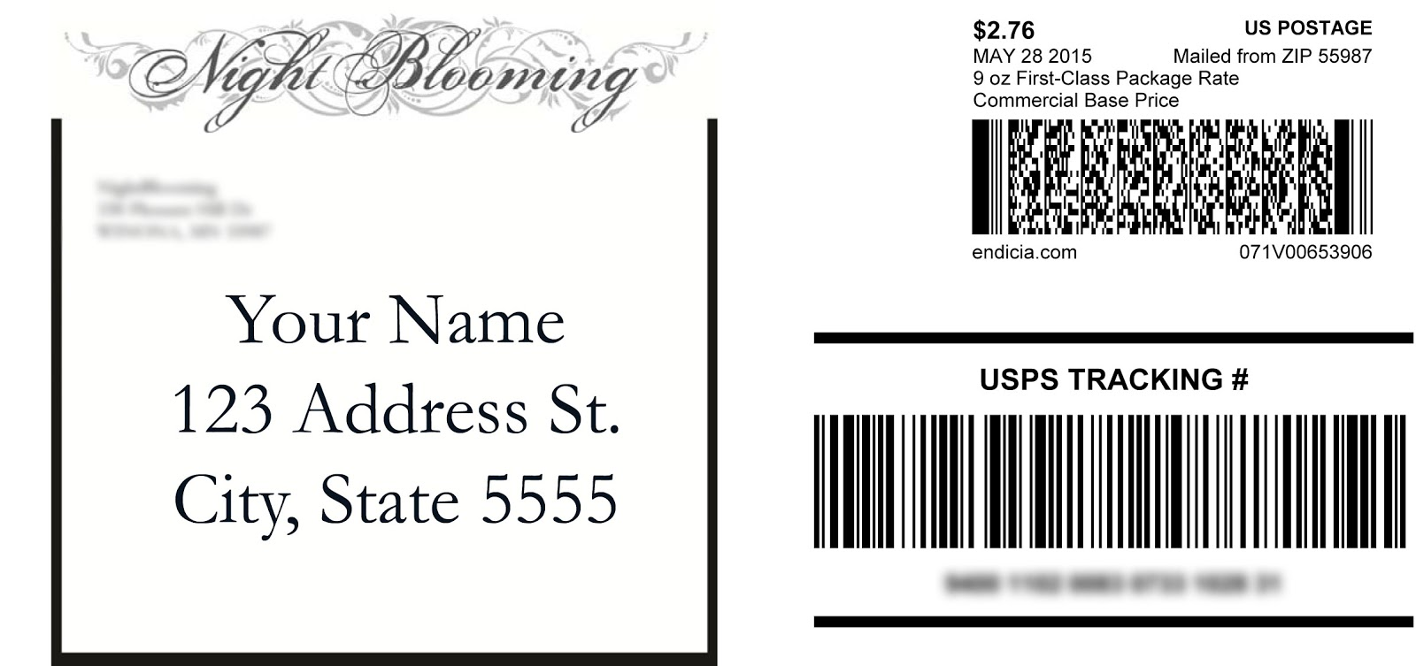A nightblooming garden calculated shipping new shipping for Homemade shipping label