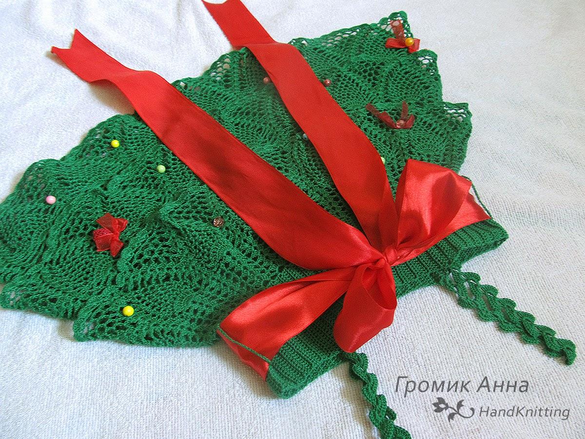 Вязание платье елочка