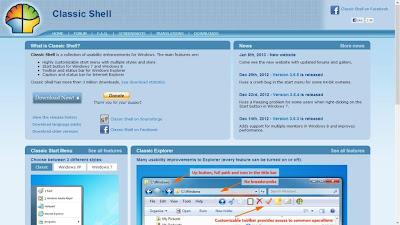 Classic Shell - Mengaktifkan tombol Start Windows 8