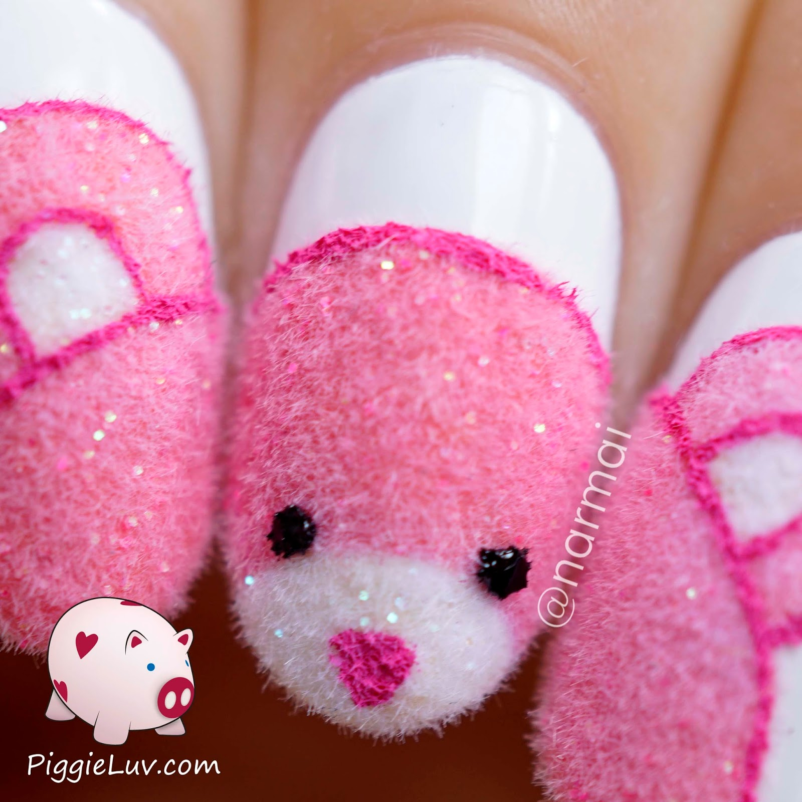Piggieluv fuzzy pink teddy bear nail art i got my flocking powder from a dutch online craft shop called mini mils but sadly it no longer exists you can find flocking powder at craft stores nail prinsesfo Gallery