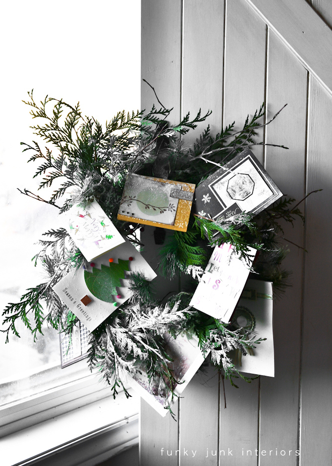 Christmas wreath with cards via Funky Junk Interiors - Christmas home tour 2012