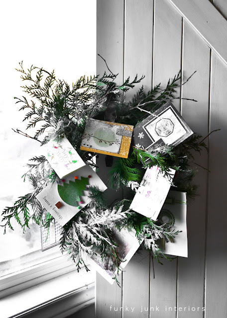 Make a snowy Christmas card wreath with an old piece of garland. via : http://www.funkyjunkinteriors.net/