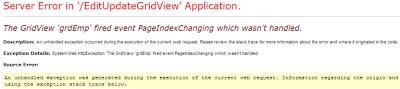 Paging error in asp.net gridview