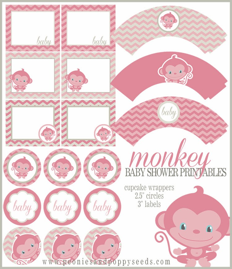Free Printable Monkey Girl Kit for Baby Showers.