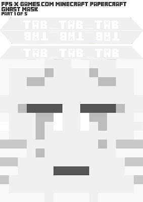 Printable Minecraft ghast mask