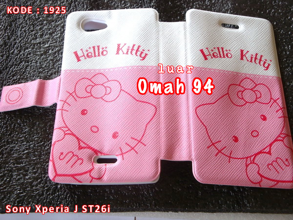 Jual Wallet Book Leather Case Sony Xperia J ST26i Motif Hello Kitty