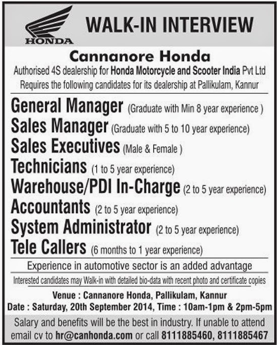 Cannanore Honda Walk-in Interview Kannur