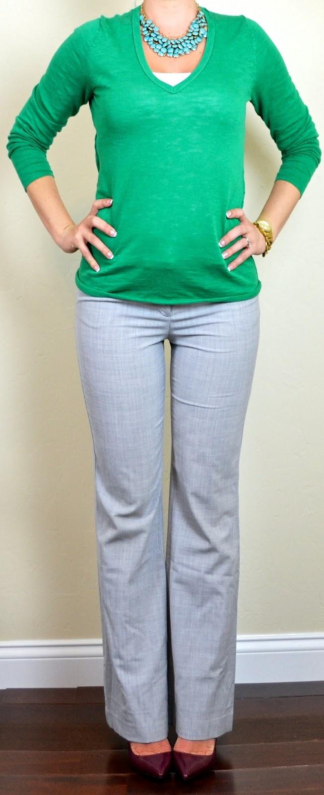 Outfit post kelly green sweater grey u2018editoru2019 pants burgundy pumps