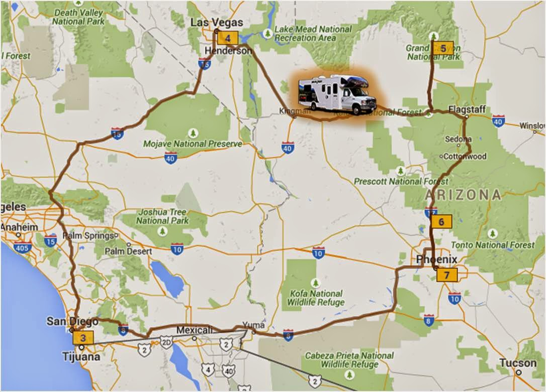 Planning Our First US Road Trip Grand Canyon Or Bust Aussie Pete - Las vegas grand canyon map