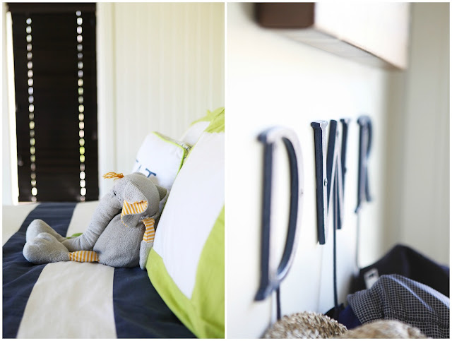Serena & Lily Green Paint Navy Stripe Bedding Youth Bedroom Idea
