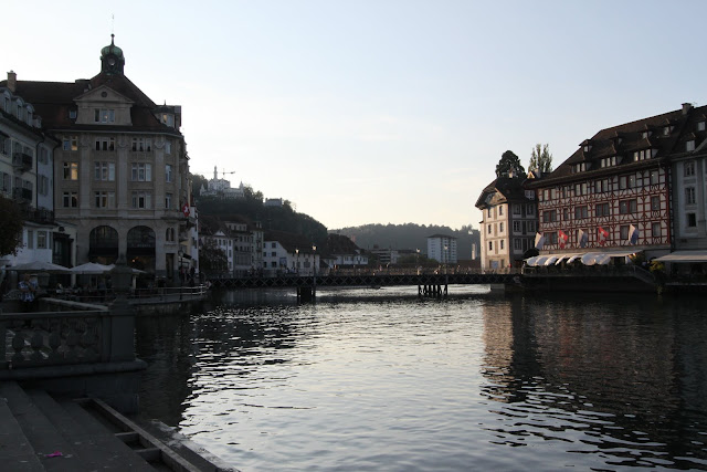 Restaurants are situated along Lake Lucerne in Lucerne, Switzerland