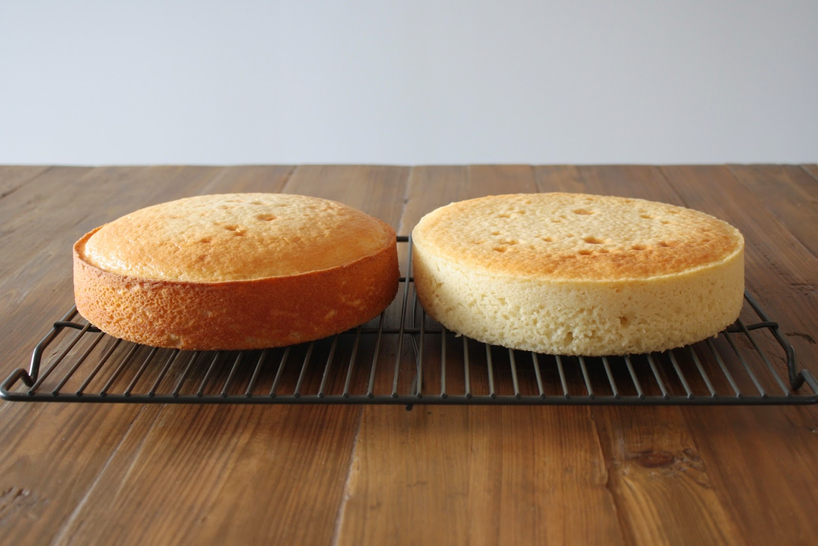 Side by side of cakes -- one flat, one domed and unevenly baked