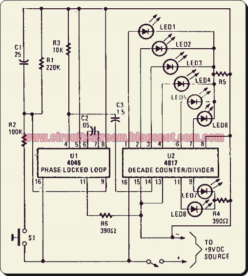 Simple Led Electronic Roulette Circuit Diagram