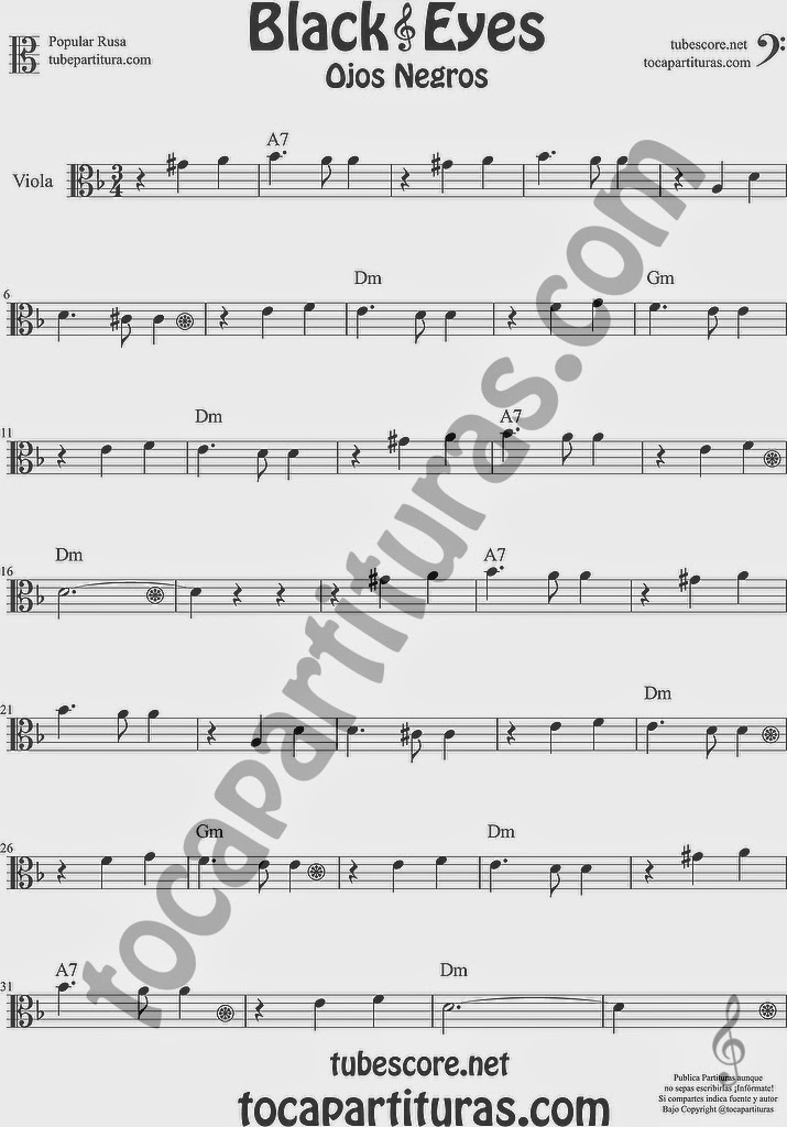 Ojos Negros Partitura de Viola Sheet Music for Viola Music Score Black Eyes Popular Rusa