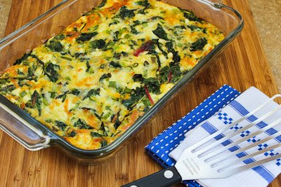 Swiss Chard, Mozzarella, and Feta Egg Bake found on KalynsKitchen.com
