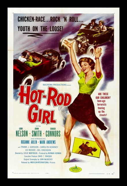 free printable, printable, classic posters, free download, graphic design, movies, retro prints, theater, vintage, vintage posters, Hot Rod Girl, Chicken race, Rock 'n Roll, Youth on the Loose - Vintage Movie Poster