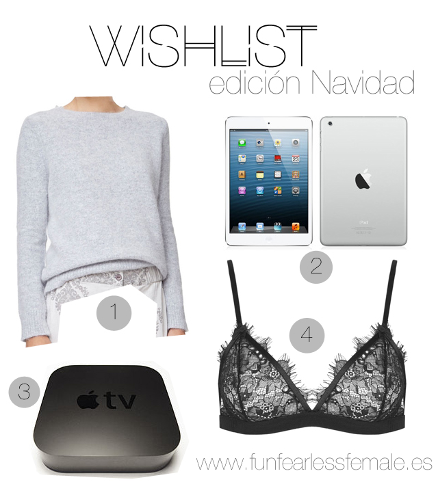jersey angora, Apple TV, wishlist, Christmas, Navidad, iPad mini, lace bra