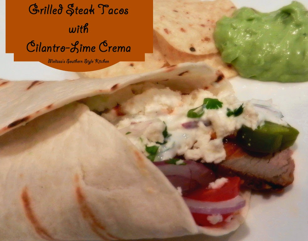 Grilled Steak Tacos With Cilantro Lime Crema ...