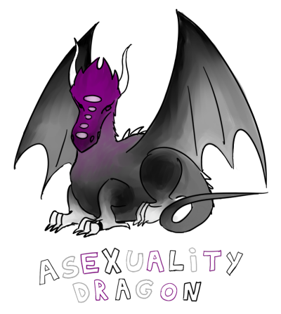 "Drawing of a purple, black and grey dragon labeled ""asexuality dragon"""