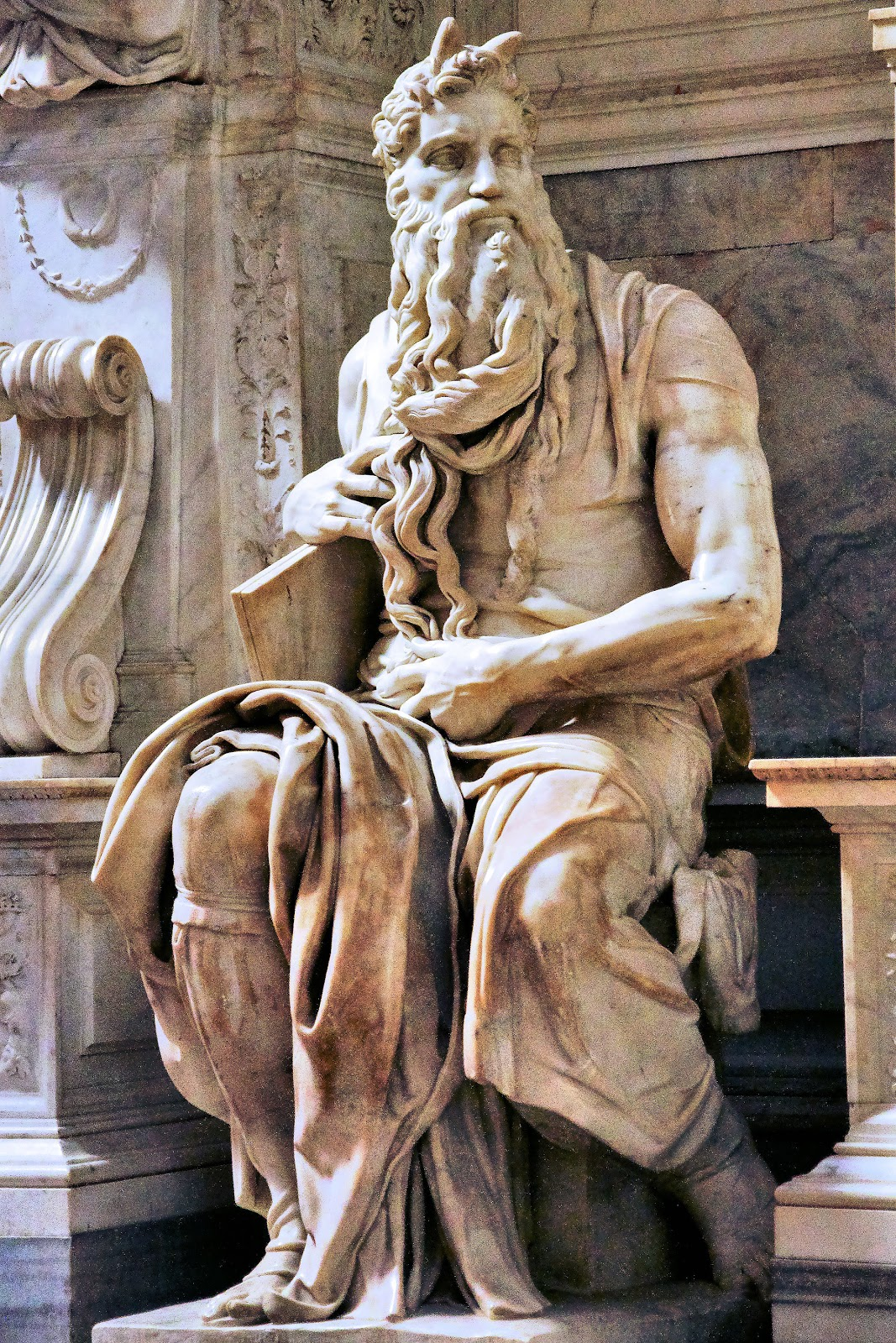 'Moses' by Michelangelo decorates the tomb of Pope Julius II inside Saint Peter's in Vincoli (chains). Photo: WikiMedia.org.