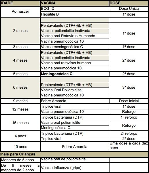 CALENDÁRIO VACINAL 2013 MINISTÉRIO DA SAÚDE