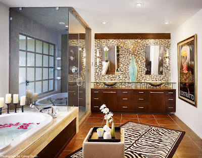a stylish bathroom in big size includes luxury fixtures and stunning animal skin carpet