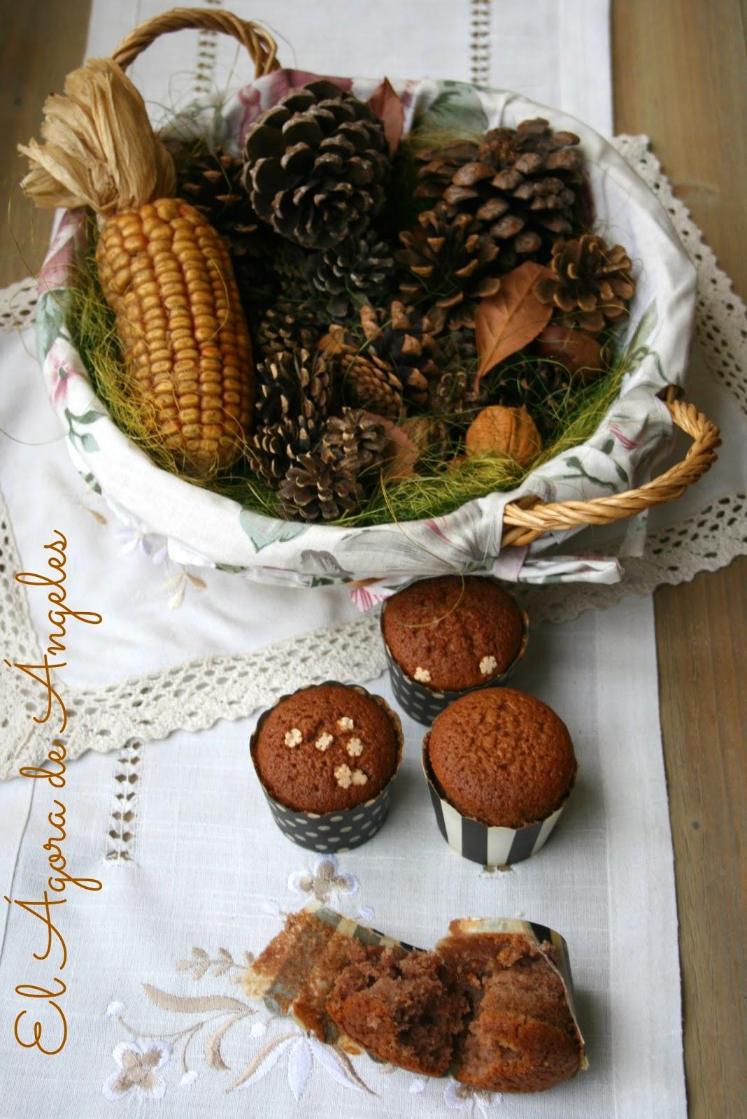 Magdalenas, cacao, crema de castañas, desayunos, meriendas