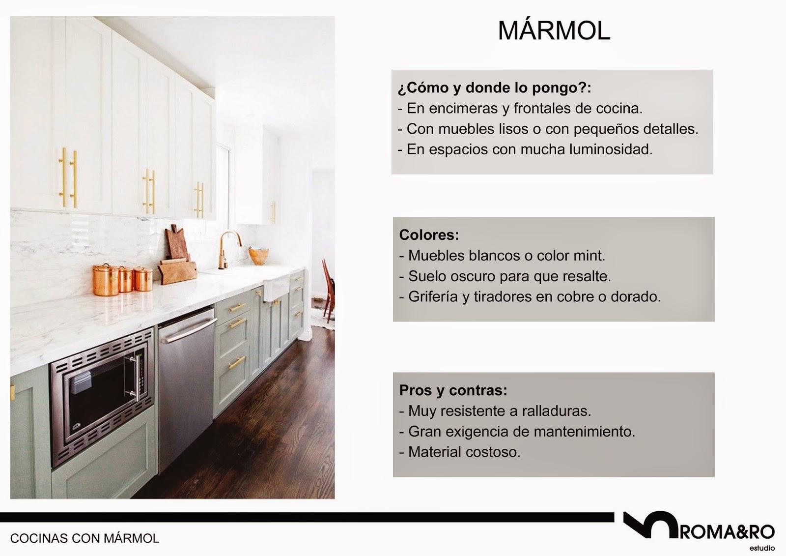 Muebles de cocina vintage con encimera de mármol
