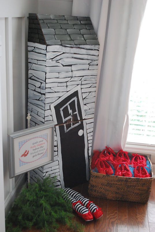 The Dorothy House Was Made By Putting A Card Board Box Together, Cutting It  In Half, And Then Stacking It On Top Of Each Other. The Ruby Slippers Were  An ...