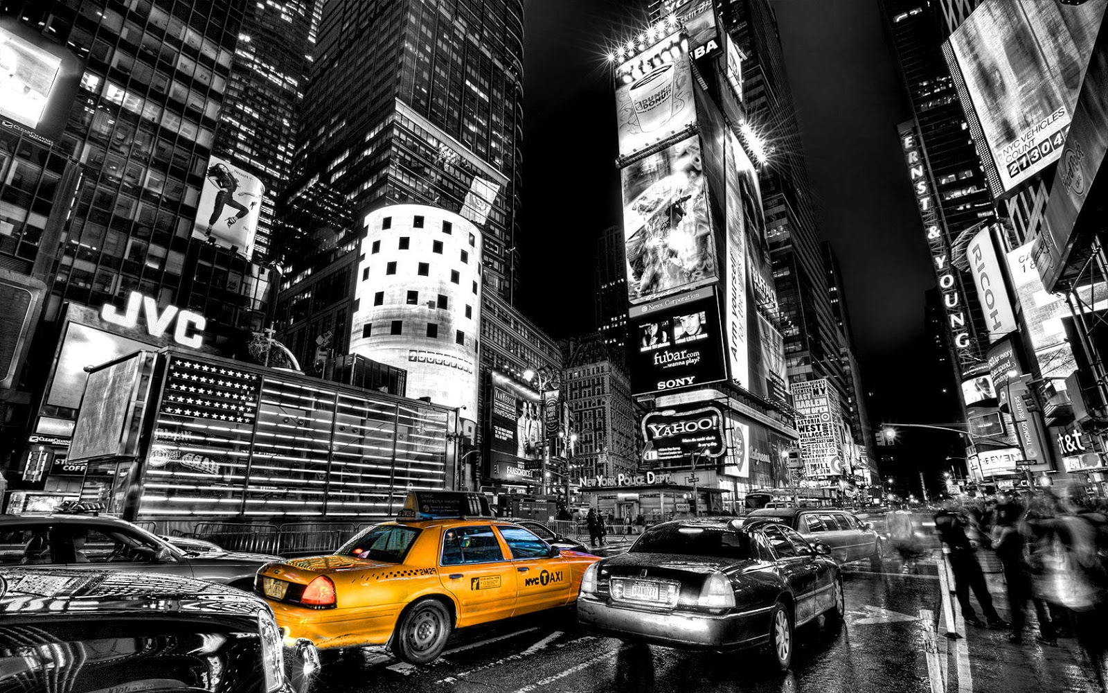 black and white with color new york city