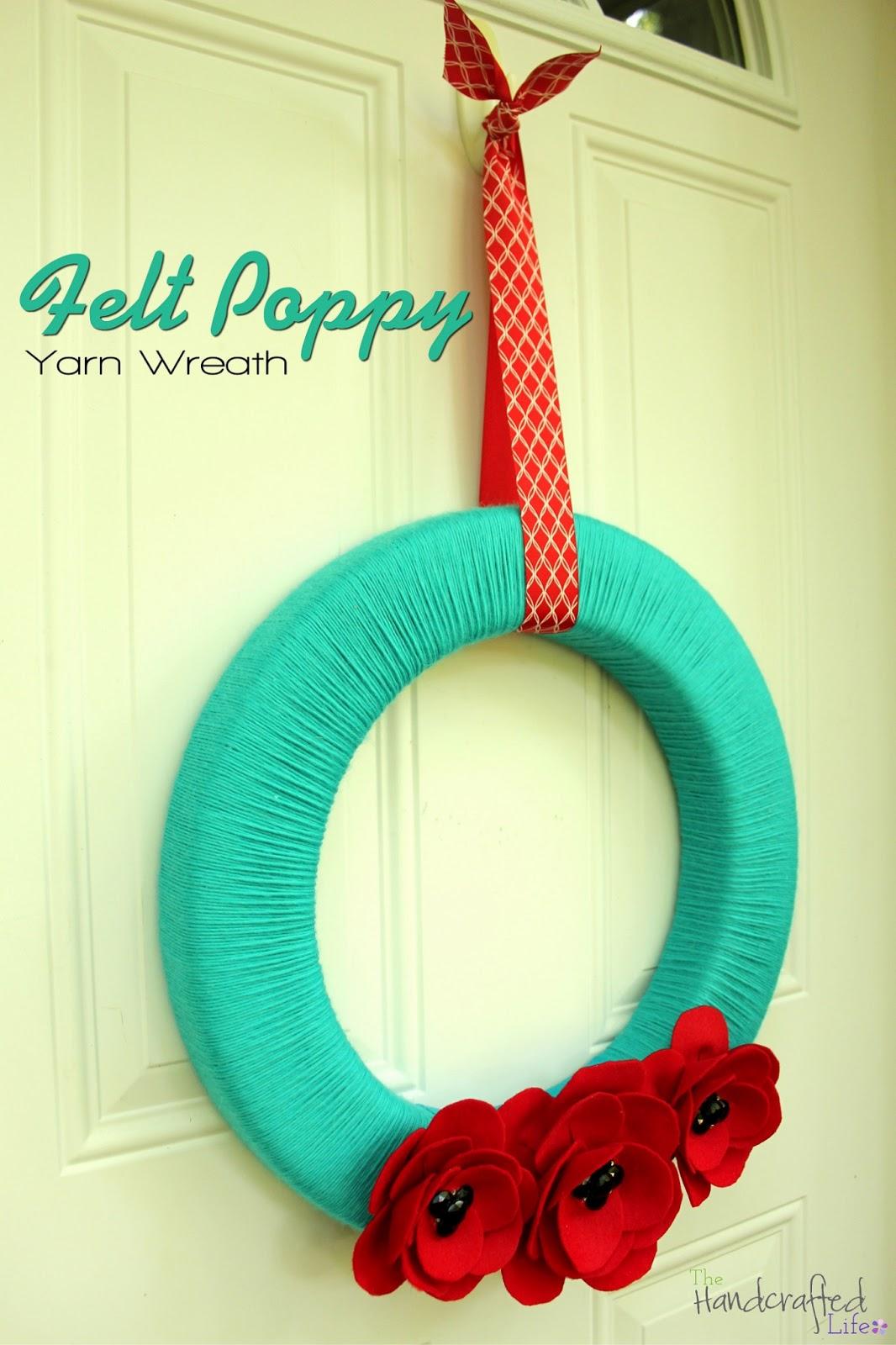 The Handcrafted Life*: Summery Felt Poppy Yarn Wreath