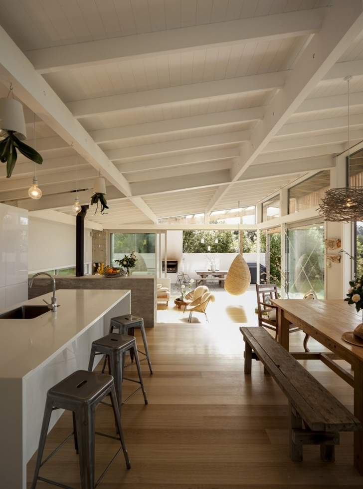 Small kitchen and dining room in Wooden house in New Zealand