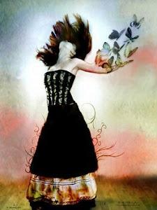 La mariposa derramo la sangre inmóvil en su vuelo