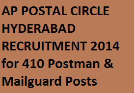 Postman Mail Guard Posts AP Telangana Recruitment 2014 for 410 Vacancy Posts, Apply Online Application at www.appost.in for Postman & Mail Guard Posts