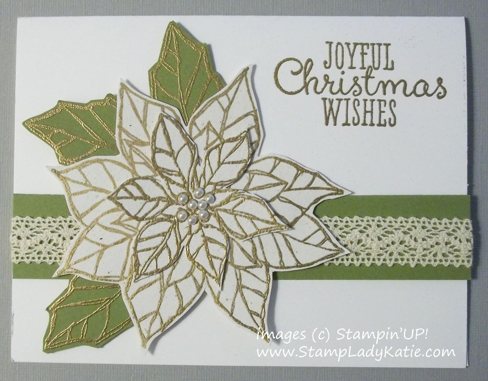 white poinsettia christmas card made with stampinups set joyful christmas