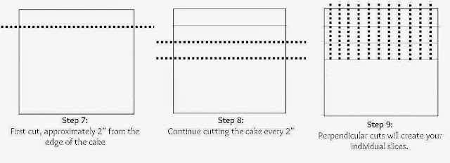 Visual instructions on how to cut a square wedding cake