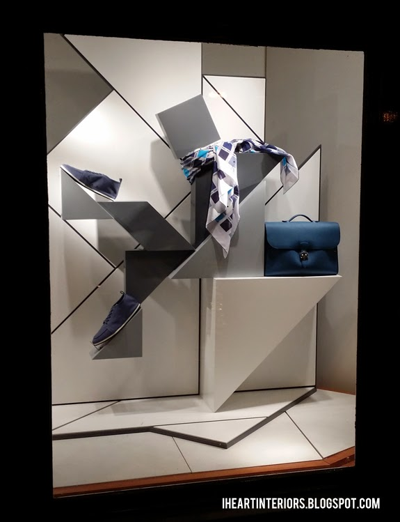 I heart interiors hermes window display geometric shapes for Window shapes and designs