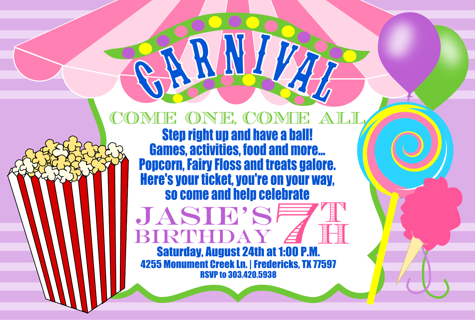 Signatures by Sarah: Carnival birthday party invite for Amanda