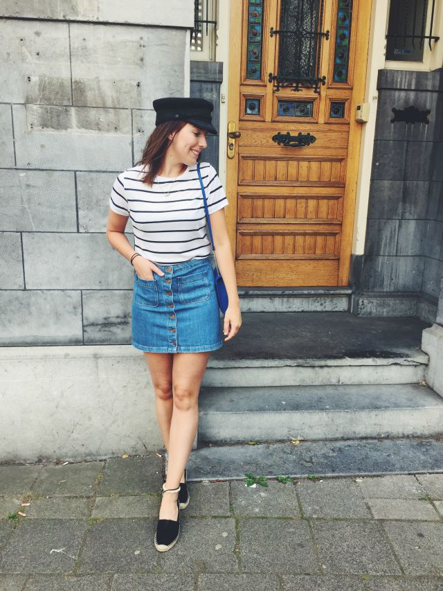 blogger inspiration fashion outfit look zara denim skirt