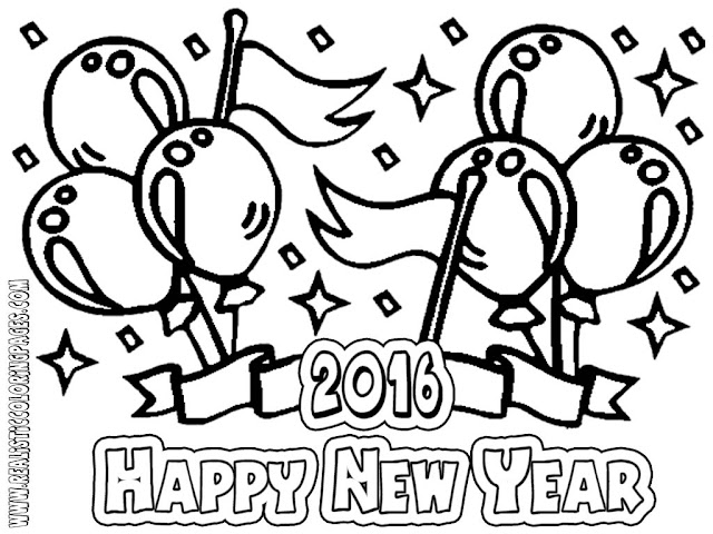 new year colouring pages 2016