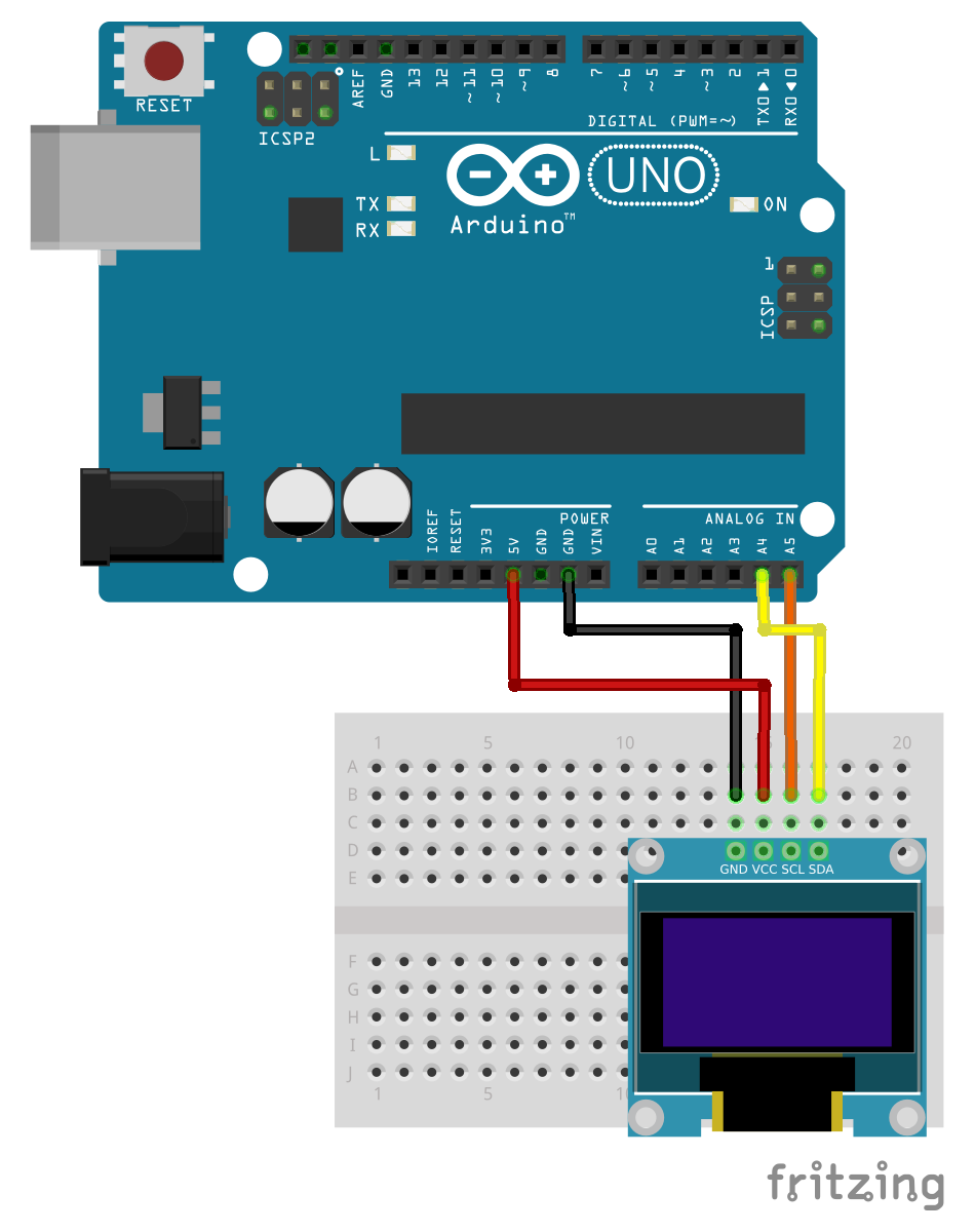 Arduino er hello world inch i c oled on