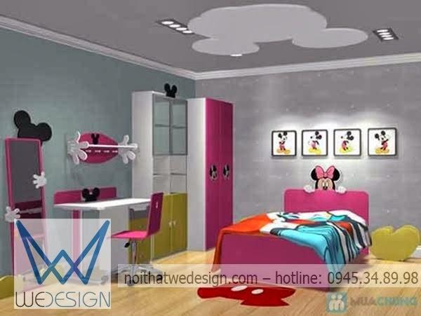 Phòng ngủ chuột mickey màu hồng dễ thương