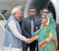 Narendra Modi & Shekh Haseena at airport