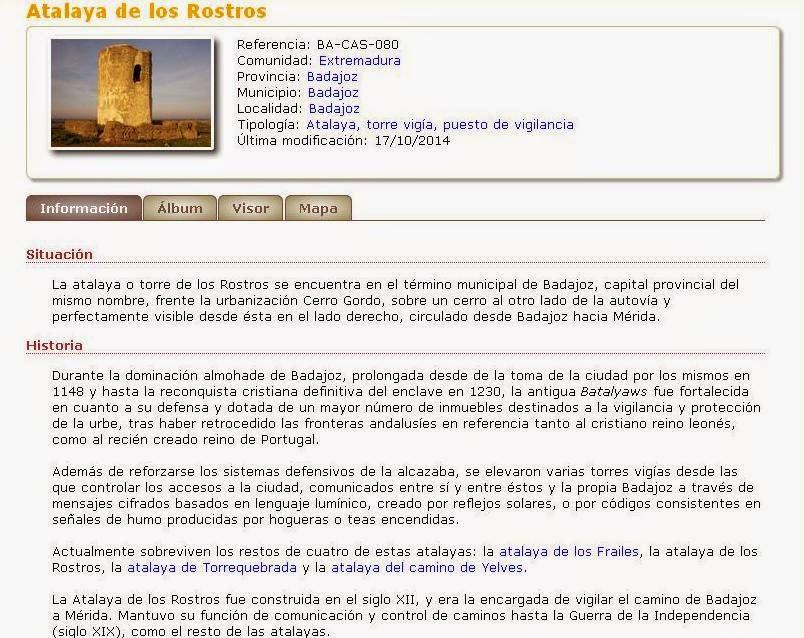 CastillosNet: Atalaya de los Rostros (Badajoz)