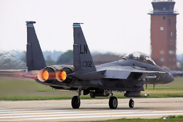 F-15 Eagle afterburner takeoff