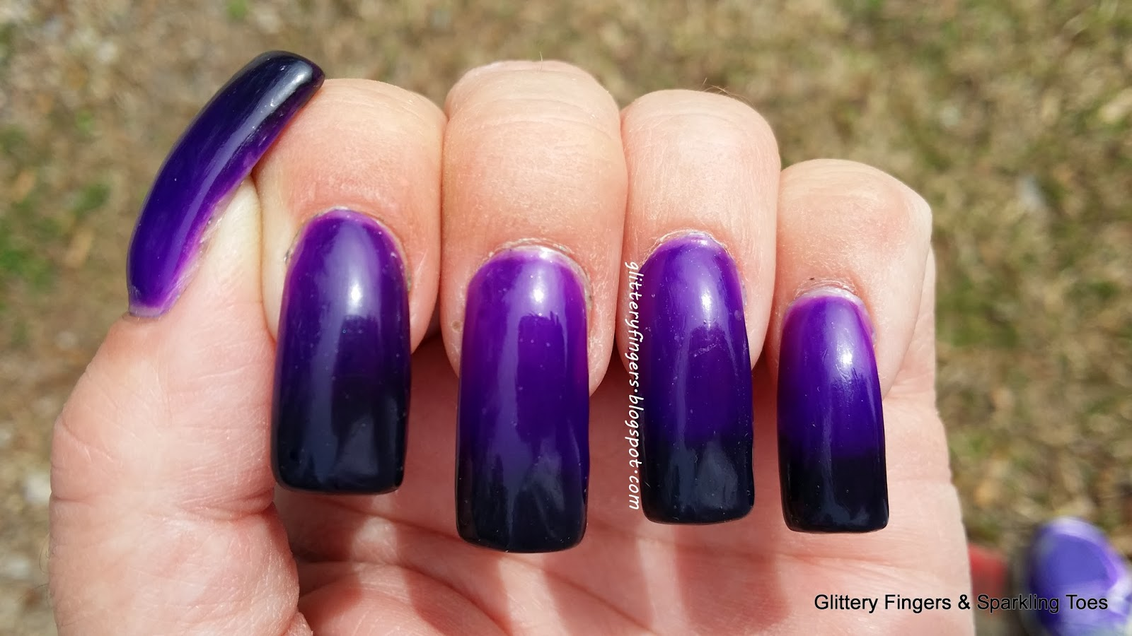 Glittery Fingers & Sparkling Toes: Black & Purple Gradient French Tips