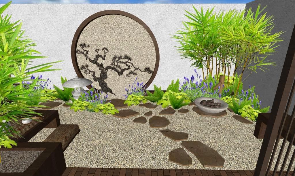 Dise o de un hermoso jard n peque o oriental japon s for Disenos de jardines y patios