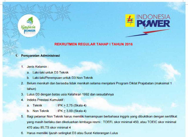 Rekrutmen PT Indonesia Power