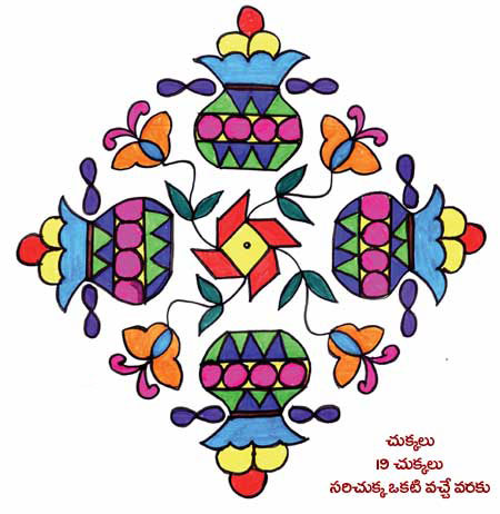 Sankranti Rangoli designs with dots & colours| Sankranti telugu