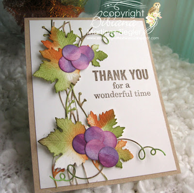 thank you card with juicy grapes die flat view